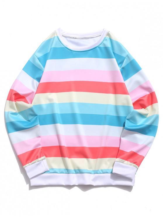 outfit Color Block Splicing Striped Casual Sweatshirt - LIGHT AQUAMARINE M