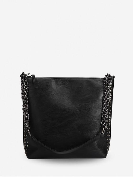 affordable Simple Studded Trim Chain Shoulder Bag - BLACK