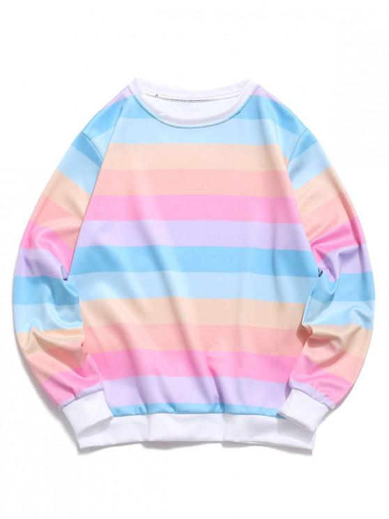 best Color Block Splicing Striped Casual Sweatshirt - PIG PINK XL