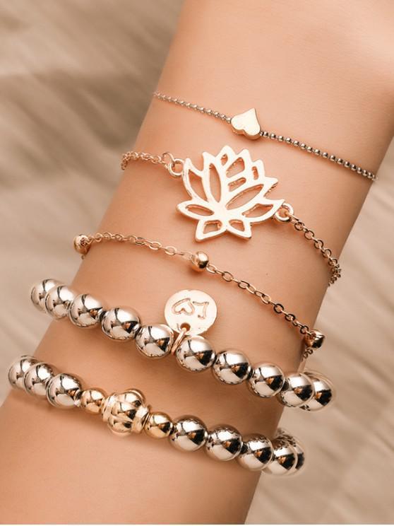 women 5Pcs Hollow Lotus Heart Beaded Bracelet Set - GOLD