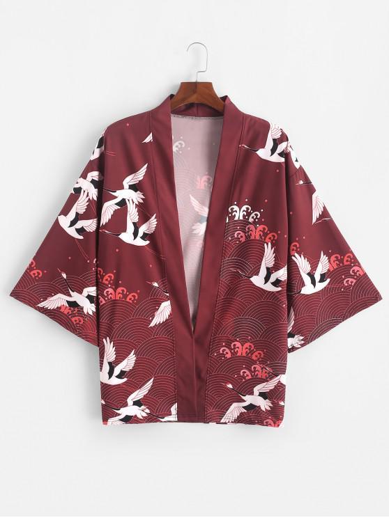 women Flying Crane Sea Waves Print Open Front Kimono Cardigan - RED WINE S