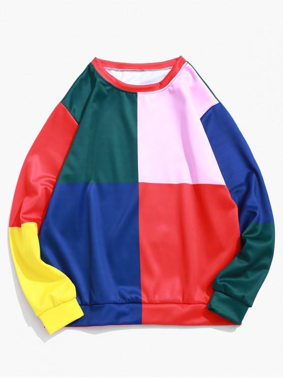 lady Color Block Splicing Graphic Print Pullover Sweatshirt - MULTI XL