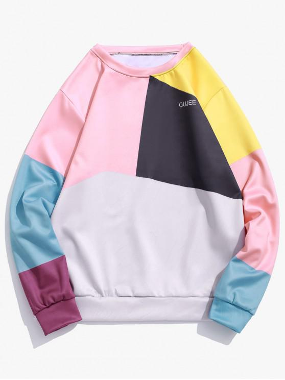 trendy Color Block Splicing Letter Graphic Print Casual Sweatshirt - MULTI L