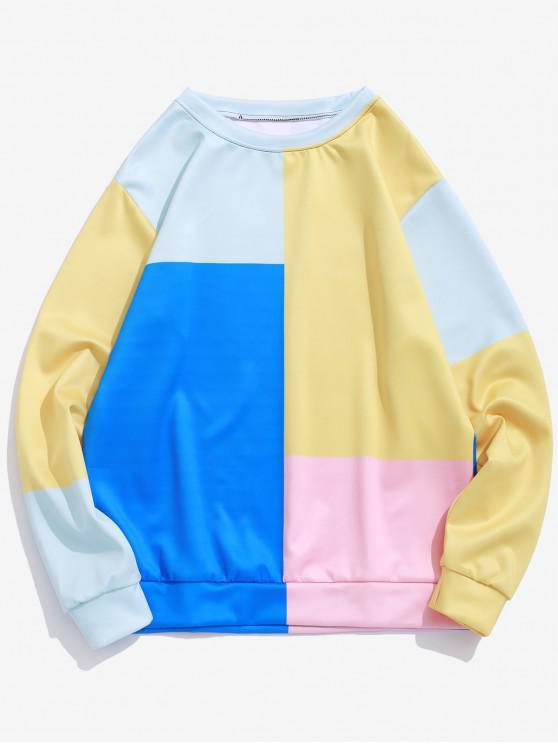 カラーブロックパネルプルオーバーカジュアルスウェットシャツ - マルチB S