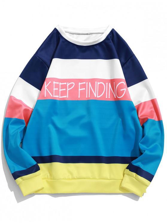 online Keep Finding Letter Color Block Spliced Pullover Sweatshirt - DARK TURQUOISE 3XL