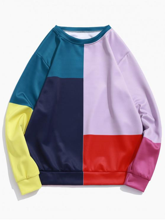 拼色拼接套衫休閒運動衫 - 多-A 3XL