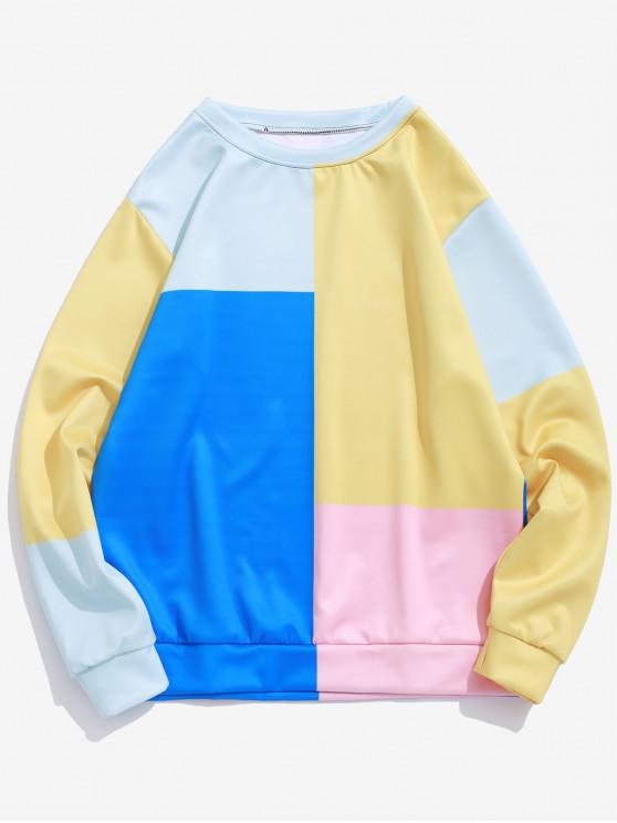 fancy Color Block Panel Pullover Casual Sweatshirt - MULTI-B L