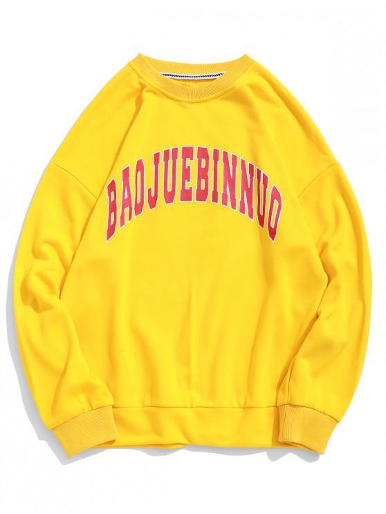 outfits Letter Graphic Print Drop Shoulder Leisure Sport Sweatshirt - YELLOW L