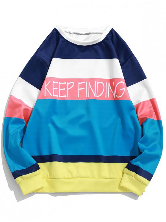 buy Keep Finding Letter Color Block Spliced Pullover Sweatshirt - DARK TURQUOISE L