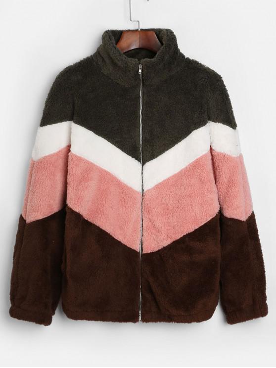 lady Color Block Zip Up Faux Fur Coat - MULTI L