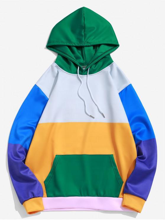 lady Color Block Panel Kangaroo Pocket Drawstring Hoodie - MULTI L