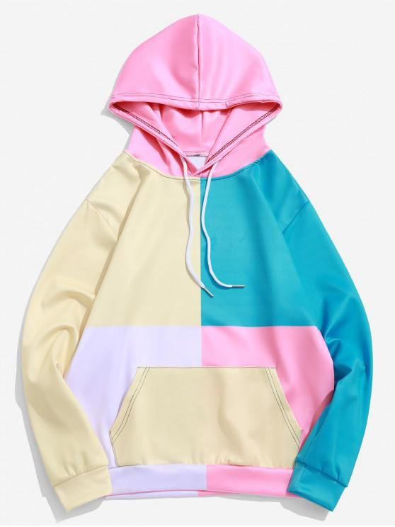 online Color Block Splicing Kangaroo Pocket Drawstring Hoodie - CREAM L