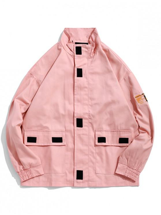 fashion Speed Limit Applique Flap Pocket Casual Cargo Jacket - FLAMINGO PINK M