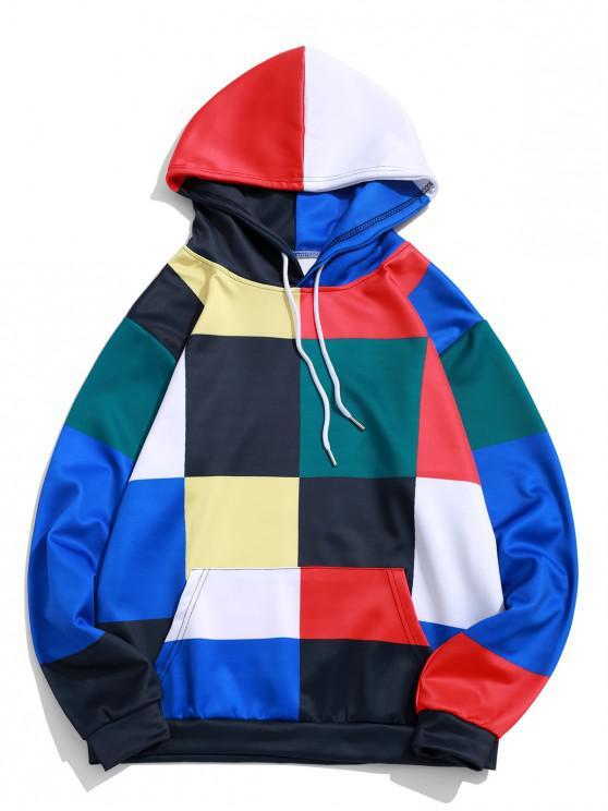 unique Color Blocking Plaid Print Casual Pullover Hoodie - MULTI L