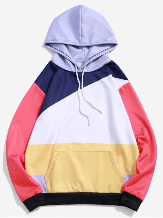 women Color Block Spliced Casual Kangaroo Pocket Hoodie - MULTI L