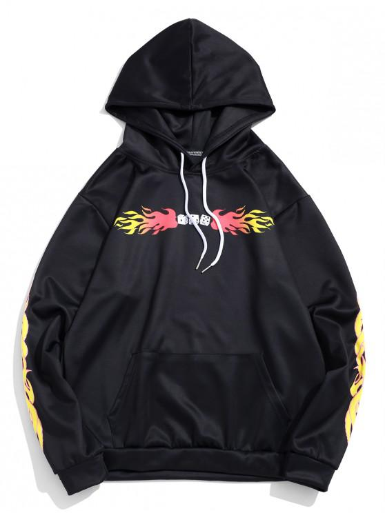 Dice Flame Graphic Print sudadera con capucha de bolsillo de canguro - Negro  S