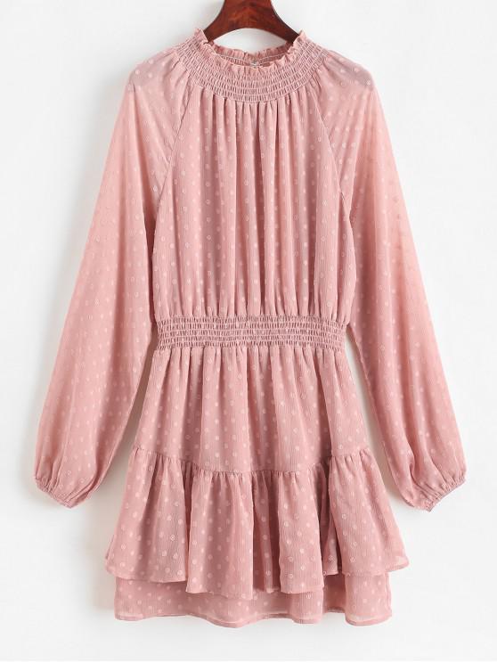 new ZAFUL Swiss Dots Layered Long Sleeve Mini Dress - PINK ROSE M