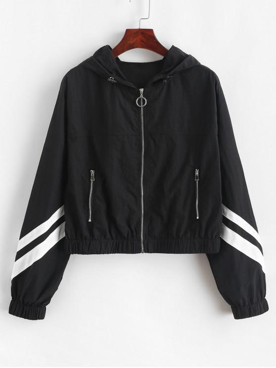 fancy ZAFUL Hooded Drop Shoulder Zipper Striped Jacket - BLACK S