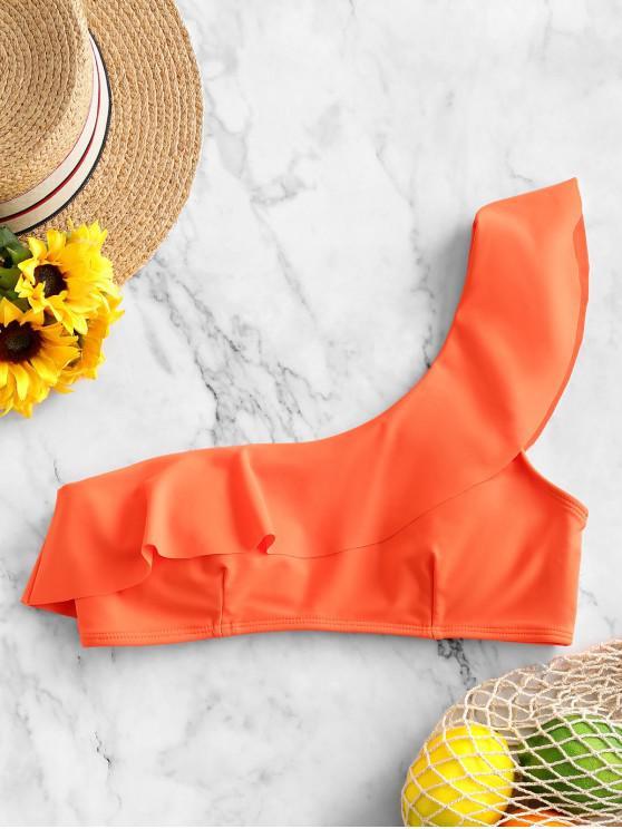 hot ZAFUL One Shoulder Neon Flounce Bikini Top - ORANGE 2XL