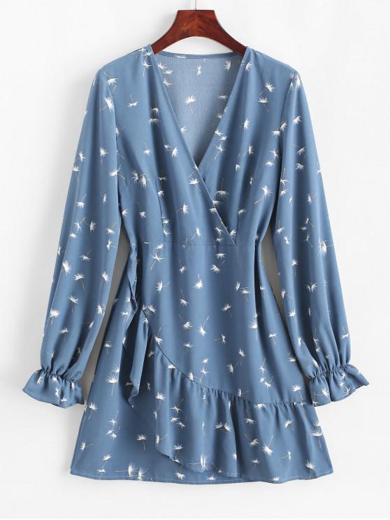 shop ZAFUL Dandelion Print Ruffles V Neck Surplice Dress - SILK BLUE L