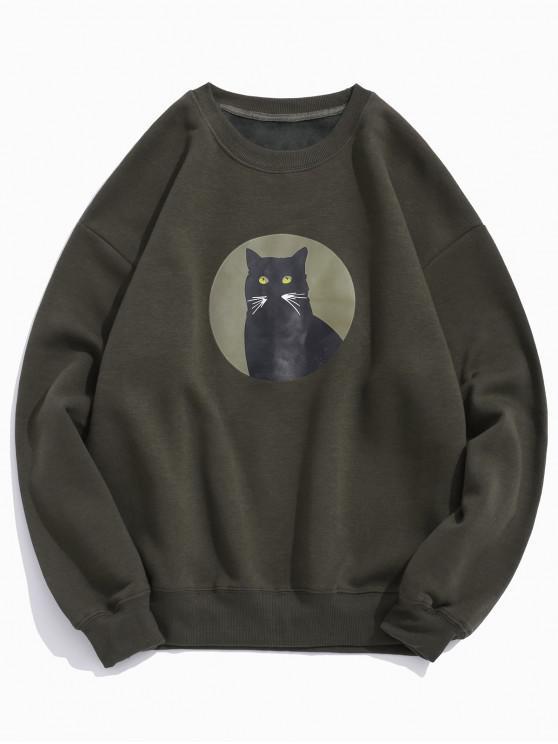 trendy Cat Graphic Print Round Neck Fleece Casual Sweatshirt - COFFEE S