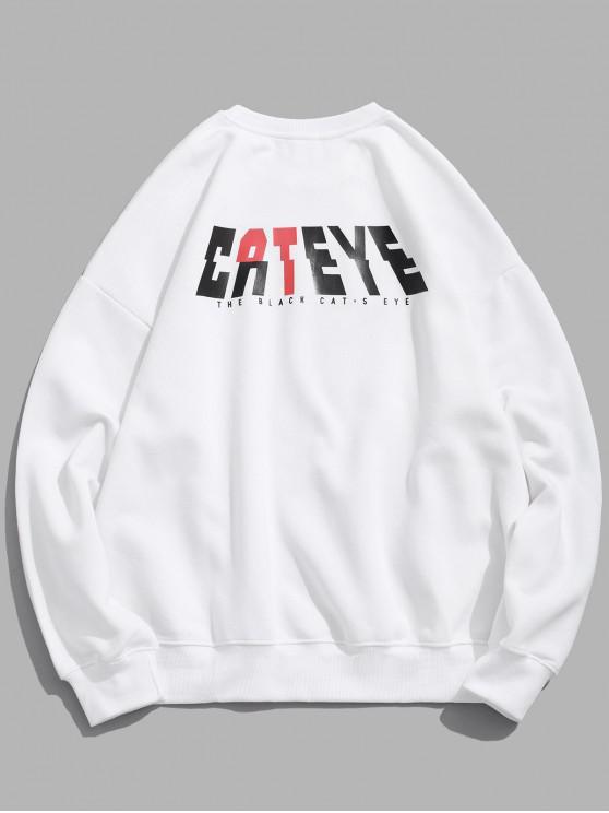 womens Cateye Letter Graphic Print Drop Shoulder Sweatshirt - MILK WHITE XL