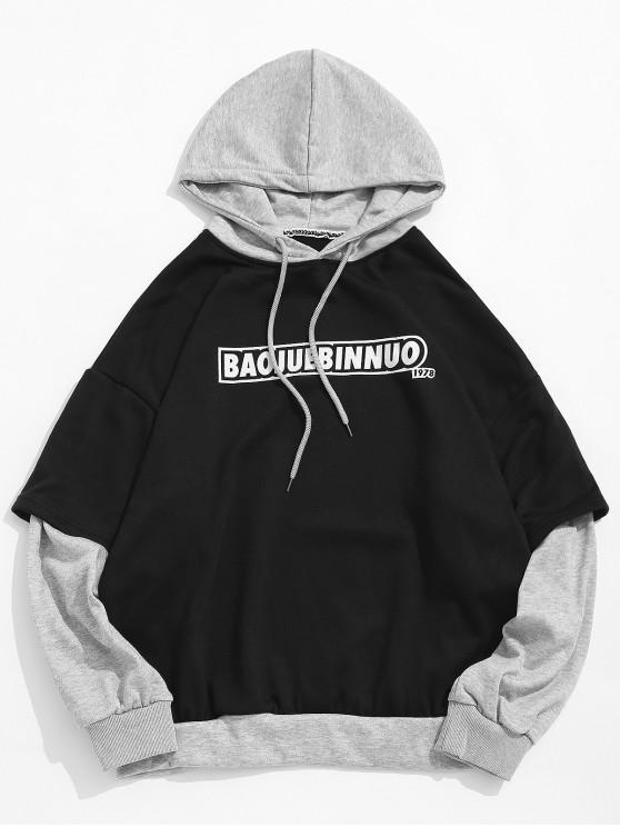 Sudadera con capucha y hombros descubiertos con estampado de letras y bloques de colores - Negro XL