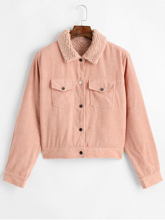 fashion ZAFUL Button Up Pockets Corduroy Fleece Lined Jacket - DEEP PEACH XL