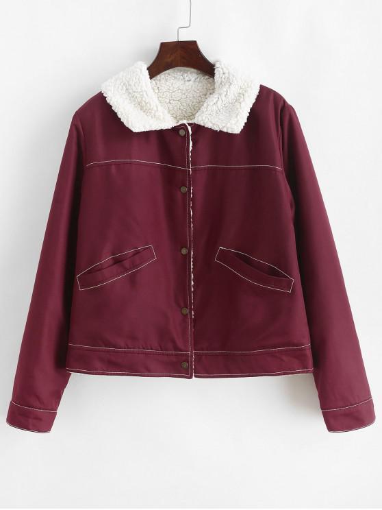 lady ZAFUL Snap Buttoned Front Pockets Sheepskin Jacket - RED WINE S