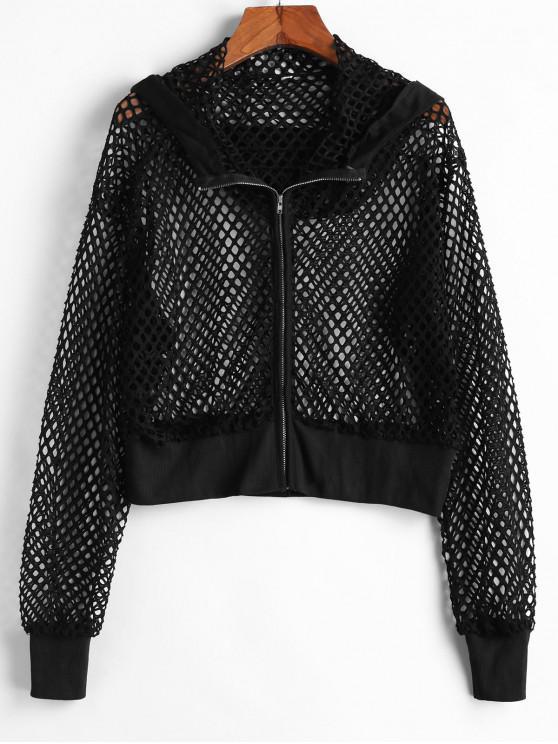 shop Hooded Ribbed Trim Fishnet Jacket - BLACK S