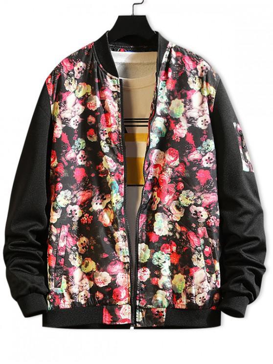 best Flower Print Color Block Splicing Casual Jacket - BLACK XS