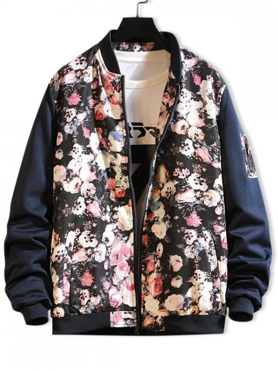 fashion Flower Print Color Block Splicing Casual Jacket - BLUE XS