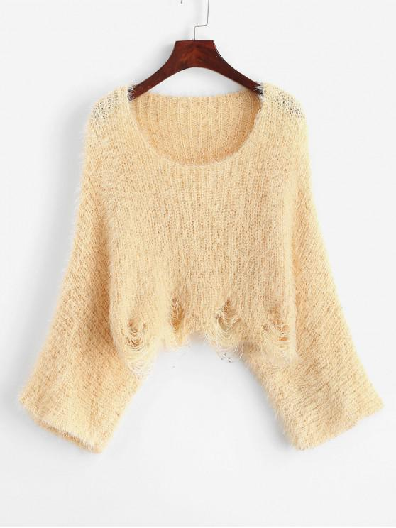 lady Ripped Batwing Sleeve Crop Sweater - YELLOW L