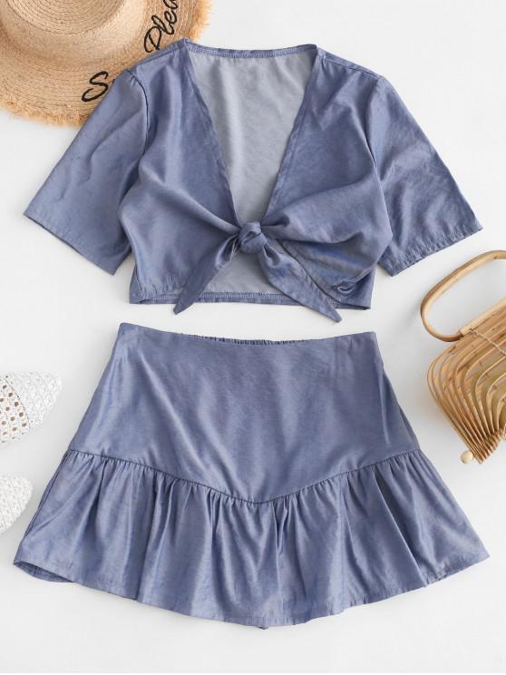 women's Cropped Shiny Tie Front Two Piece Dress - BLUE L