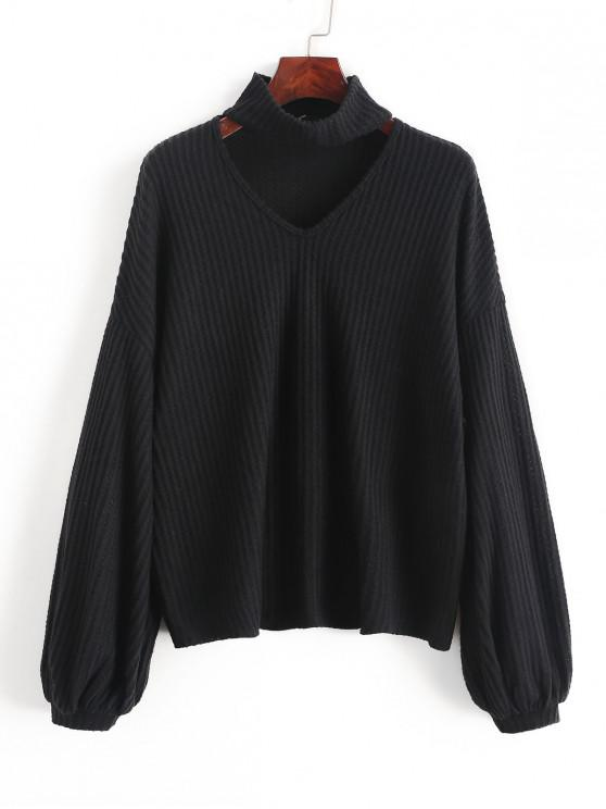 chic ZAFUL Mock Neck Cut Out Puff Sleeve Ribbed Knitwear - BLACK L