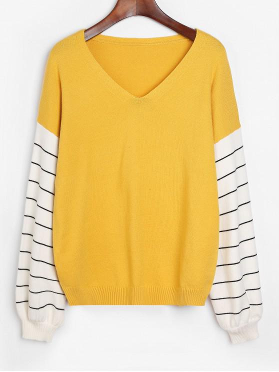 chic Striped Lantern Sleeves V Neck Sweater - BEE YELLOW M