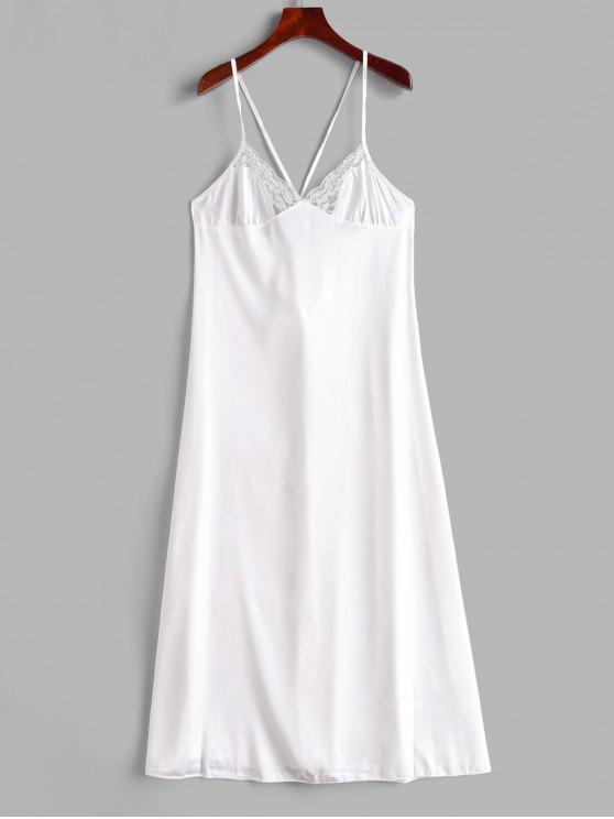 womens Lace Panel Satin Lace-up Slip Dress - WHITE M