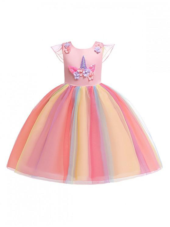 outfit Unicorn Flower Pattern Cap Sleeve A Line Tulle Dress - PINK 120