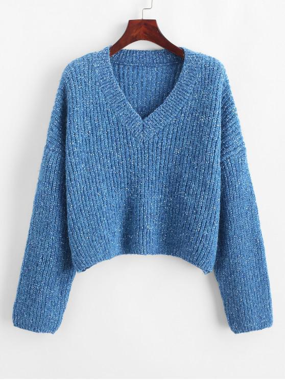 Suéter con cuello en V confeti con hombros caídos - Azul de Arándanos L