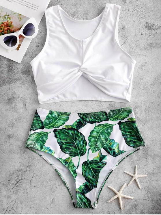 hot ZAFUL Leaf Print Twisted High Waisted Tankini Swimsuit - MULTI-A L