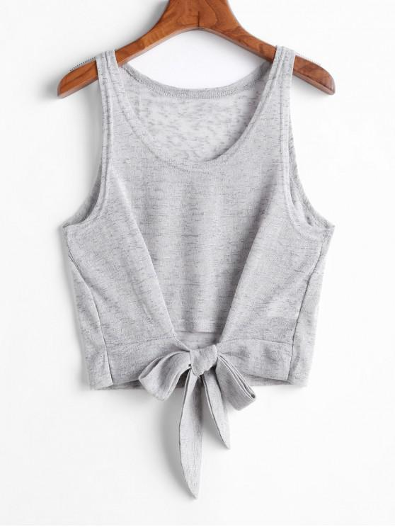 best Marled Knot Knit Tank Top - GRAY M