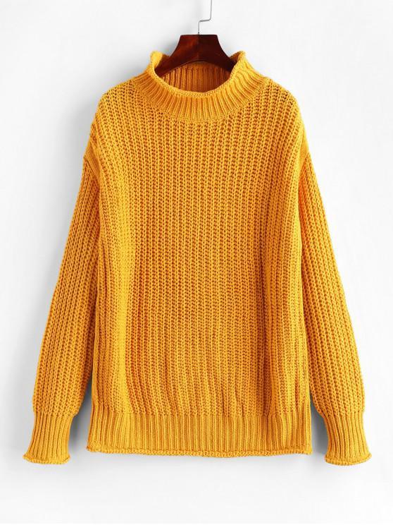 Suéter grueso con hombros descubiertos y cuello alto - Mostaza S