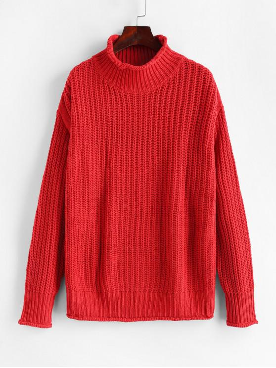best High Neck Drop Shoulder Chunky Sweater - RED XL