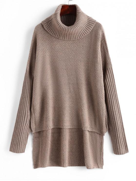 fancy Drop Shoulder Turtleneck High Low Sweater - COFFEE ONE SIZE