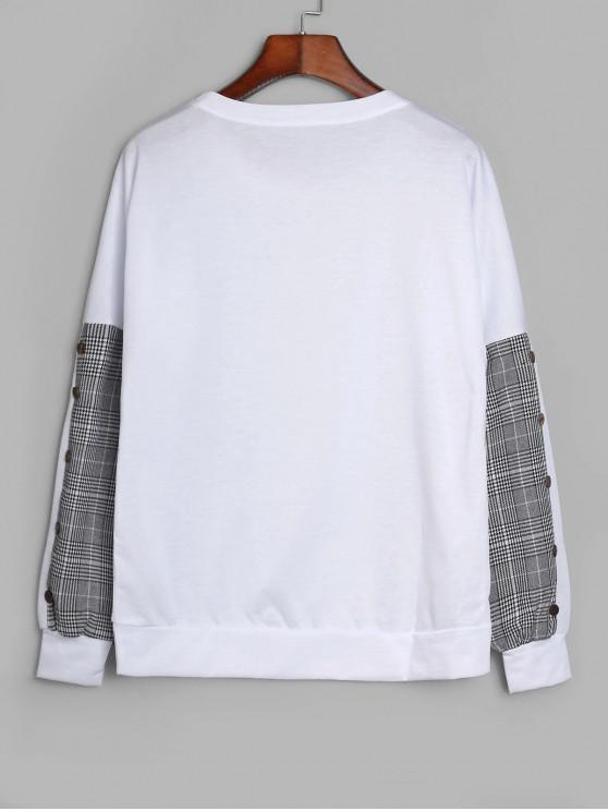 womens Drop Shoulder Mock Button Plaid Panel Sweatshirt - WHITE XL
