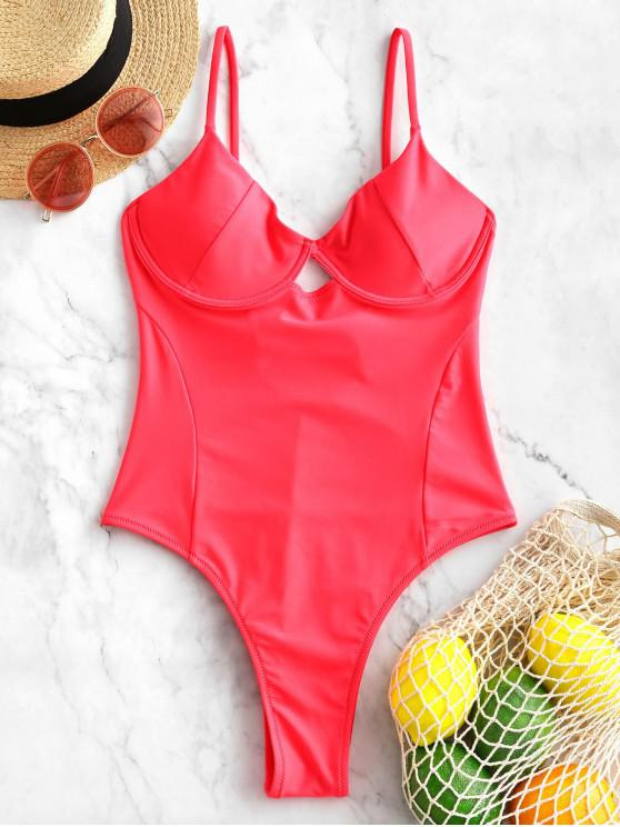 trendy ZAFUL Neon High Cut Underwire One-piece Swimsuit - RED XL
