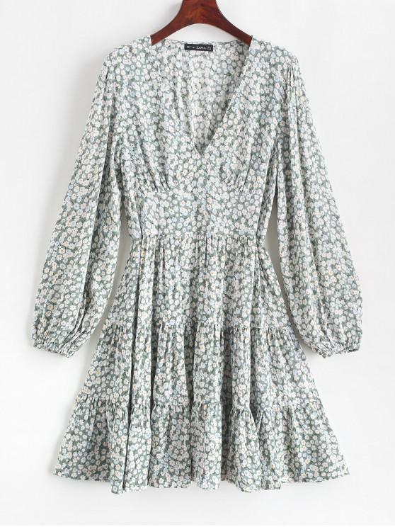 shops ZAFUL Ditsy Print Flippy Hem Plunging Dress - CYAN OPAQUE S