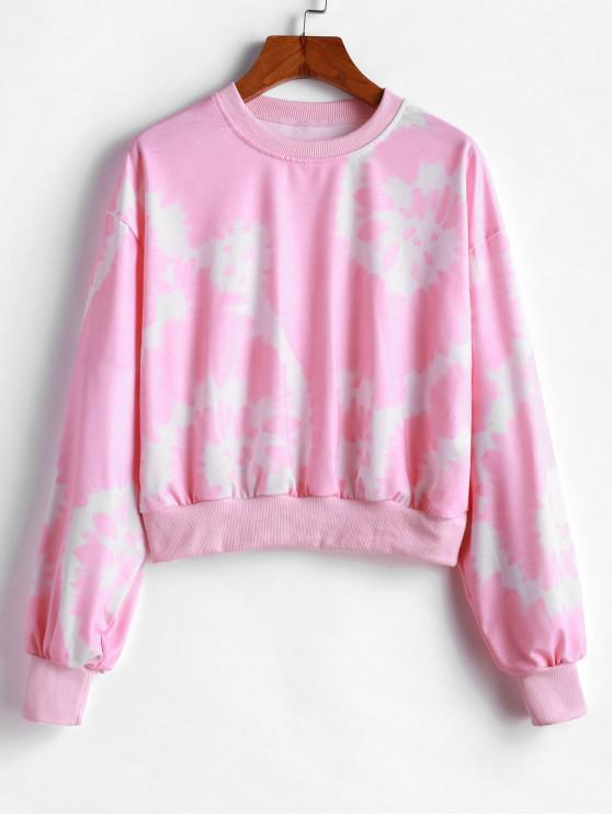 online Crew Neck Tie Dye Sweatshirt - PINK M
