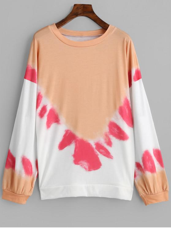 buy Crew Neck Tie Dye Loose Sweatshirt - MULTI-A S