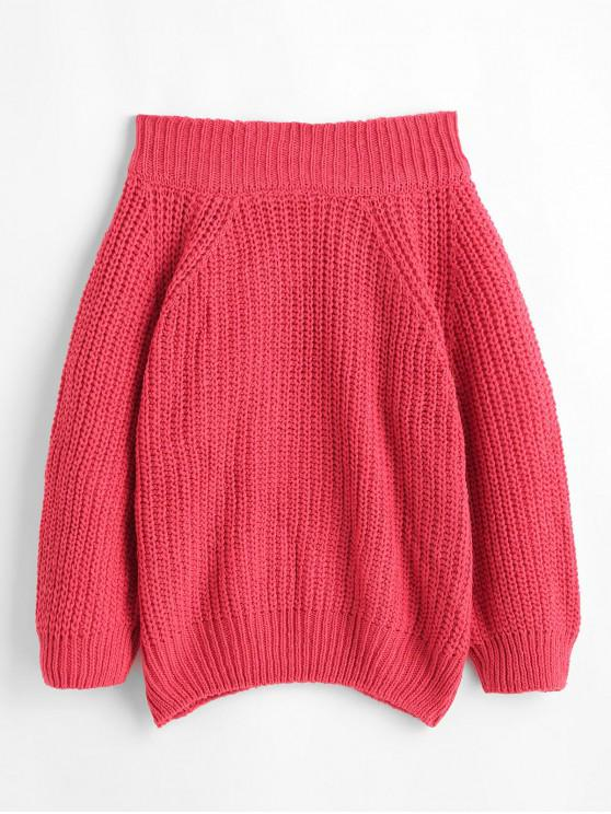 outfits Off Shoulder Chunky Knit Solid Sweater - RED ONE SIZE
